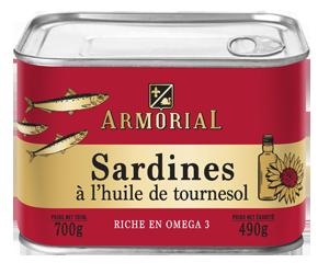 Armorial- Sardines à l'huile de tournesol-700g